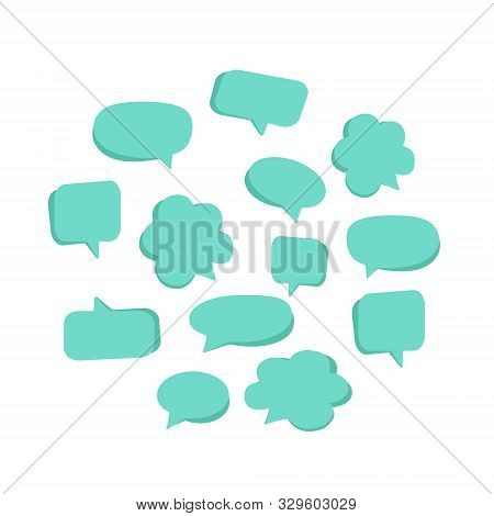 Callouts Set With Different Messages On White Background. Vector Illustration. Cute Interactive Clou