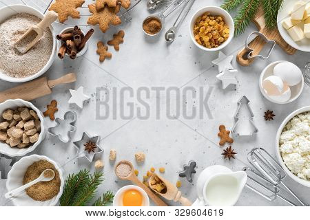 Christmas Or Xmas Baking Culinary Background. Ingredients For Cooking On Kitchen Table. New Year Or