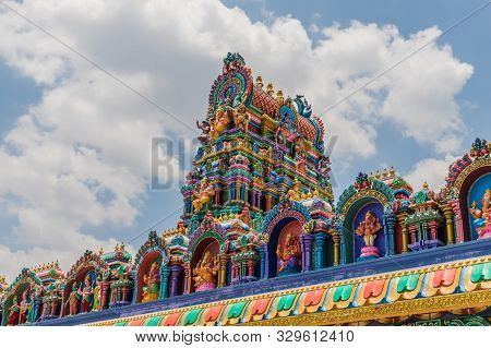 Batu Caves Kuala Lumpur Selangor, Malaysia. March 18 2019. A View Of The Colourful Roof Of The Templ
