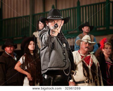 Gunfighter pointing Gun
