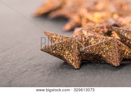 Group Of Golden Luxury Beautiful Christmas Stars Decoration. Wonderful Glamorous Xmas Star Advent De