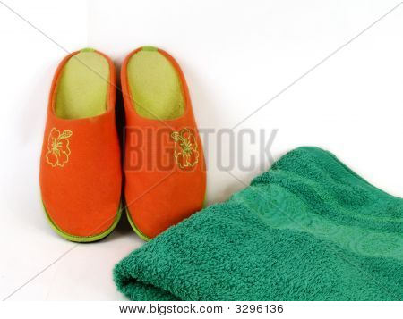 Carpet Slippers And Towel