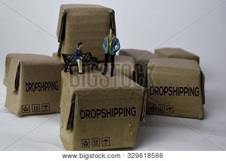 Miniature Businessman Talking On Boxes With Text Dropshipping Isolated White Bakground