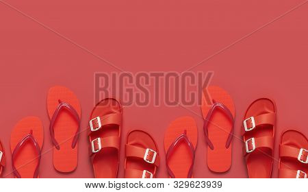 Seamless Pattern Of Fashionable Beach Coral Flip Flops And Birkenstock On Coral Background. Flat Lay