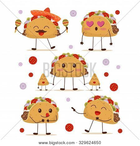 Cute And Fun Positive Taco Character Set Vector Illustration. Collection Consists Of Cartoon Smiling