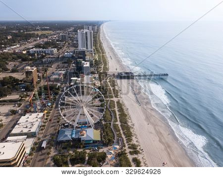 Aerial view of Myrtle Beach tourist area in South Carolina, USA.