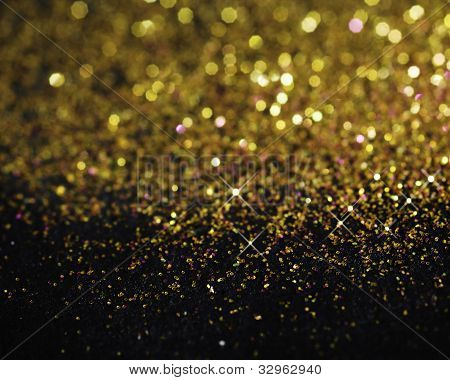 Gold Glitter On Black Background
