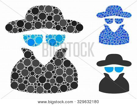 Spy Composition Of Round Dots In Variable Sizes And Color Hues, Based On Spy Icon. Vector Round Dots