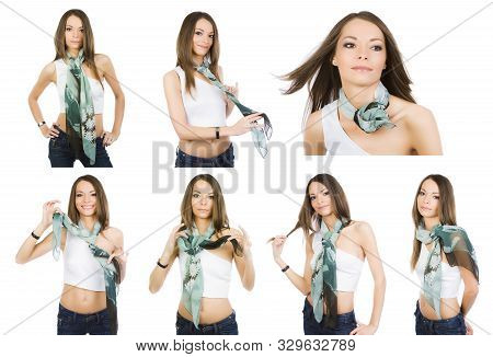 Happy Girl Demonstrates The Options For Using A Neckerchief. 7 In 1