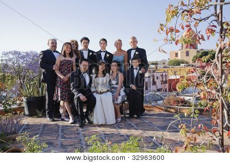 Hispanic family at Quinceanera