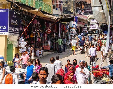 Rishikesh, India - Circa April 2018. People On The Market Street, Rishikesh, India.