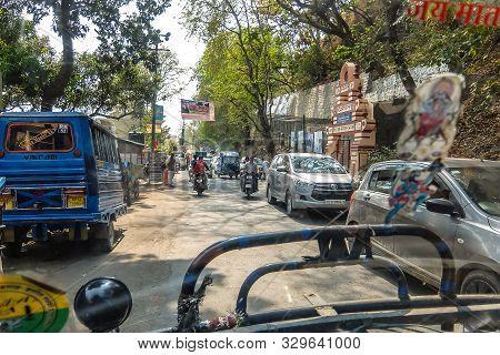 Rishikesh, India - Circa April 2018. Road Traffic On The Streets Of Rishikesh.