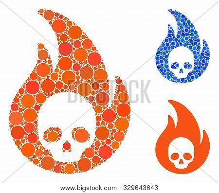 Hellfire Mosaic Of Filled Circles In Various Sizes And Color Tinges, Based On Hellfire Icon. Vector