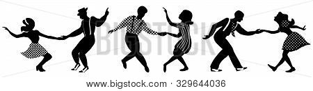 Set Of Three Negative Dancing Couples Silhouettes On White Background. People In 1940s Or 1950s Styl
