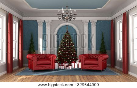 Christmas Tree And Gift In Luxury Living Room With Two Red Classic Armchairs - 3d Rendering
