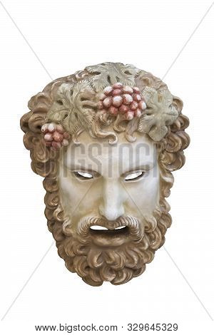 Greek Theatrical Mask Of Dionysus Isolated On White Background.