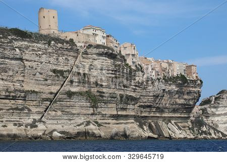 Ancient Turret Of Bonifacio Town In Corsica Island France And The Stairway On Aragon King On The Roc