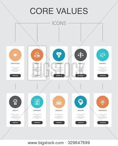 Core Values Infographic 10 Steps Ui Design. Trust, Honesty, Ethics, Integrity Simple Icons