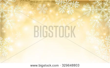 Abstract Christmas Background With Snowflakes And Place For Text. Gold Abstract Mesh Background. Vec
