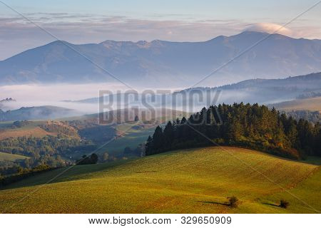 Fog In The Valley Of Turiec Region And View Of Mala Fatra National Park, Slovakia.