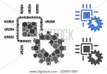 Hitech Processor And Gear Integration Composition Of Small Circles In Various Sizes And Color Tones,