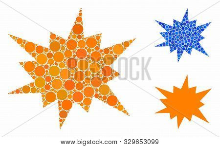 Bang Mosaic Of Circle Elements In Different Sizes And Color Tints, Based On Bang Icon. Vector Circle