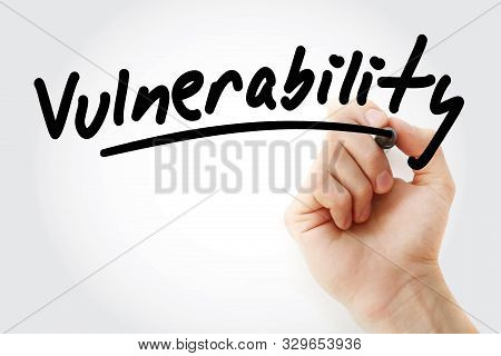 Vulnerability - Text With Marker, Concept Background