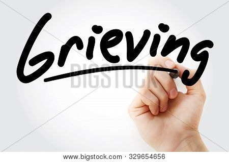 Hand Writing Grieving With Marker, Concept Background