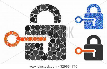Secrecy Composition Of Round Dots In Different Sizes And Shades, Based On Secrecy Icon. Vector Round