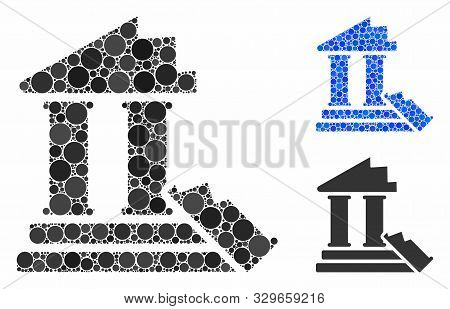 Historic Ruins Composition Of Round Dots In Various Sizes And Color Tones, Based On Historic Ruins I