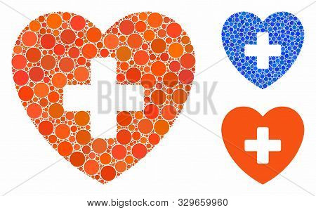 Cardiology Mosaic Of Filled Circles In Various Sizes And Shades, Based On Cardiology Icon. Vector Fi