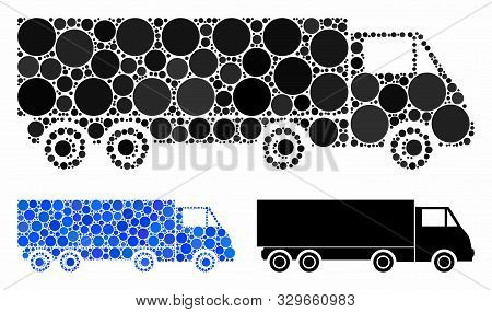 Wagon Composition Of Round Dots In Different Sizes And Color Tones, Based On Wagon Icon. Vector Roun