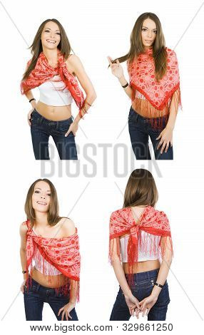 Happy Girl Demonstrates The Options For Using A Neckerchief Like Clothes. 4 In 1