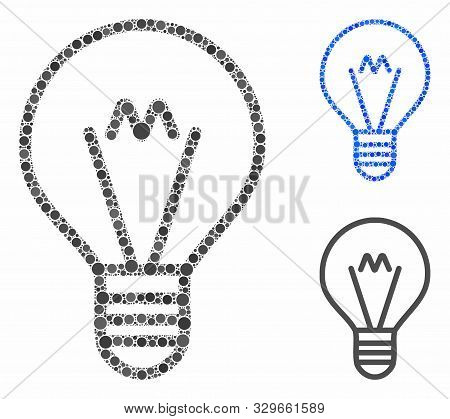 Hint Lamp Mosaic Of Round Dots In Variable Sizes And Color Hues, Based On Hint Lamp Icon. Vector Rou