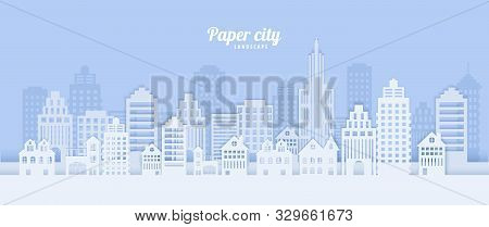 City Landscape In Papercut Style. White Paper Cut Office, Residential Buildings For City Ecology Bro