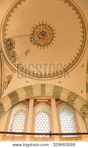 Istanbul, Turkey - September 5th 2019. The Ceiling Of The Late 16th Century Tomb Of Princes In The T