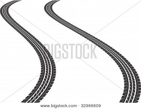 clip art illustration of isolated tire tracks poster