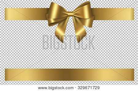 Gold Bow And Ribbon Gift For Christmas And Birthday Decorations