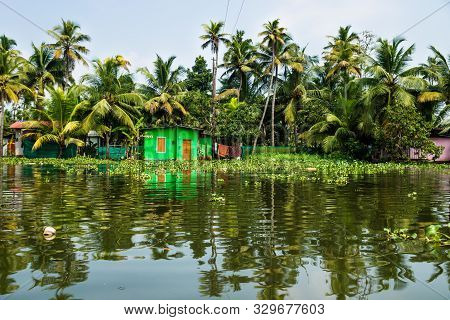 Green House In The Kerala Backwaters In The Lush Jungle Along The Canal With Bright Reflections, Ala