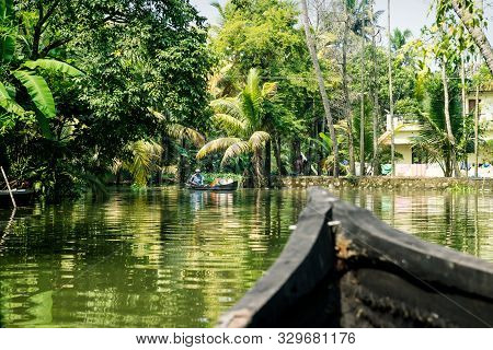 Alleppey - Alappuzha, India - 13 November 2017: Boat Tour Through The Small Canals Of The Kerala Bac