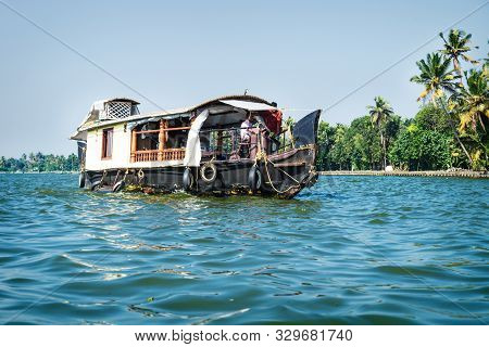 Alleppey - Alappuzha, India - 13 November 2017: House Boat On The River Of The Kerala Backwaters Wit