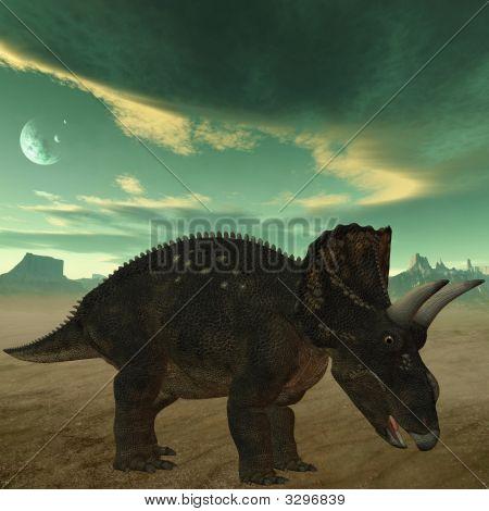 3 D Render of an Dinosaur - Diceratops poster