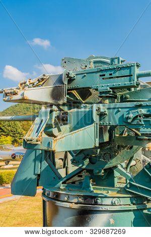Daejeon, South Korea; October 20, 2019: Ammunition Box Holders On Side Of M45 Quadmount Weapon Mount