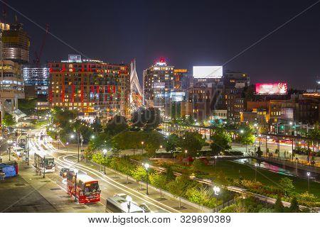 Boston, Usa - Sep. 1, 2018: Boston Historic Buildings At North End And Leonard P. Zakim Bridge At Ni