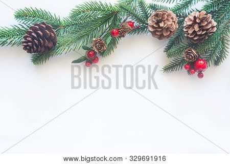 Holiday Christmas Card Background With Festive Decoration Ball, Stars, Snowflakes, Gift Box, Pine Co