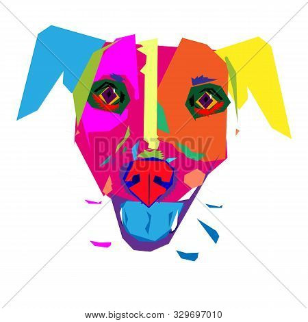 The Head Of A Multicolor Dog With Protruding Blue Tongue. Graphic Vector Image Made With Colorfull S
