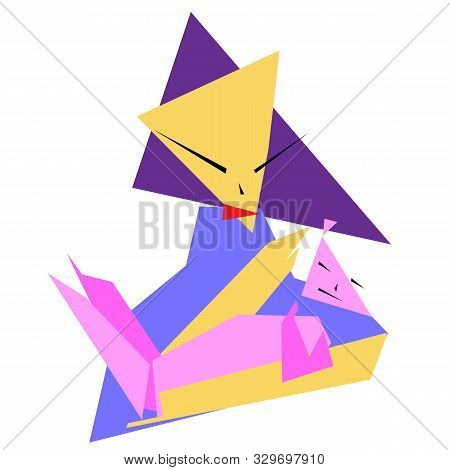 Abstract Illustration Of A Woman Holding A Baby In Her Arms. Vector Made With Shapes In Style Cubism
