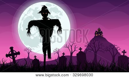 Black Silhouette Of Scarecrow In The Foreground In The Middle Of A Cemetery With A Haunted House On