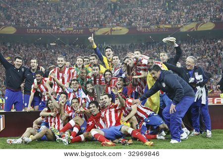 BUCHAREST, ROMANIA - MAY 9, 2012: Club Atletico de Madrid's wins UEFA Europa League on May 9, 2012 in Bucharest, Romania.