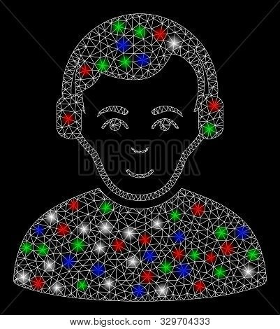 Bright Mesh Radioman With Lightspot Effect. White Wire Frame Polygonal Mesh In Vector Format On A Bl